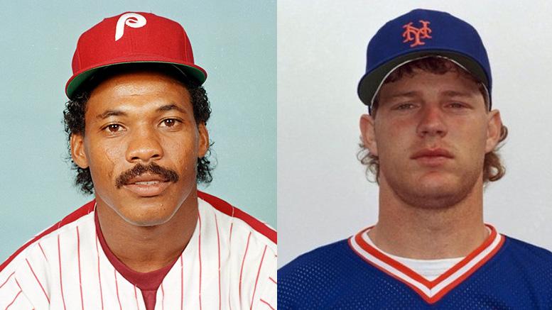 Philadelphia Phillies Juan Samuel and New York Mets' outfielder Lenny Dykstra. (AP)